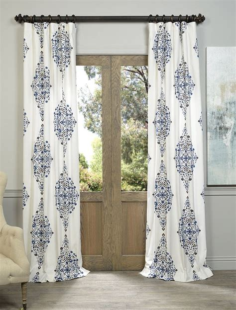 discount draperies and curtains blue printed cotton twill curtain sku prtw d41