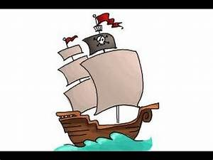 How to draw a pirate ship for kids - YouTube