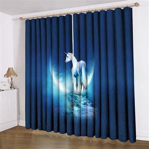 unicorn printing curtain satin blue home decorating ideas