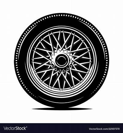 Motorcycle Wheel Vector Retro Spokes Tire Clip