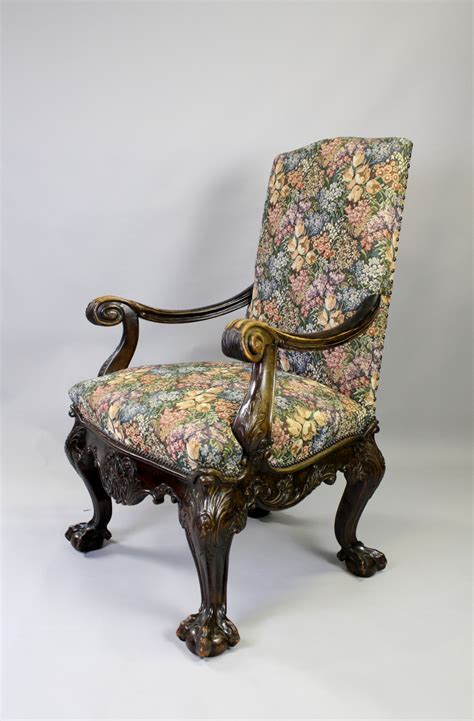 Antique Carved Mahogany Fancy Arm A Georgian Style Carved Mahogany Arm Chair 423712