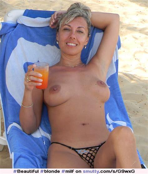 Blonde Milf Beach Vacation Sunbathing Drinking