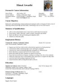 commis chef resume exles himal awasthi commis chef cv 1 page