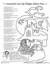 Poe Edgar Allan Poems Annabel Lee Coloring Poetry Poet Printable Poem Allen Tweetspeakpoetry Template Heart Templates sketch template