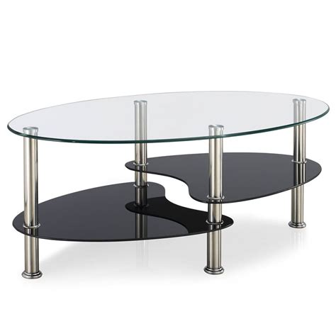 cara coffee table black glass cara coffee table black clear frosted oval shelves glass