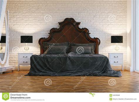 les chambre a coucher en bois grand lit en bois avec le tissu gris dans la chambre à