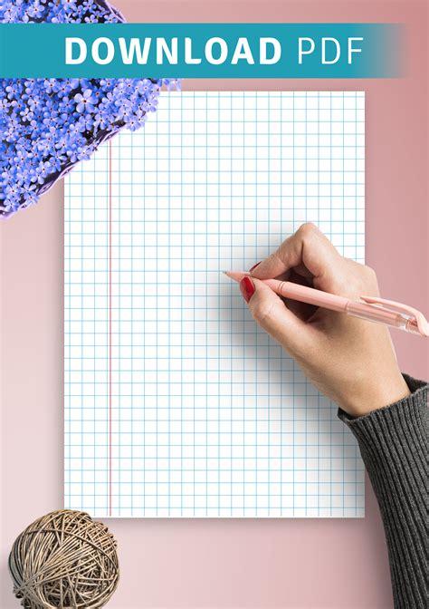 printable squared wide ruled blue  margin