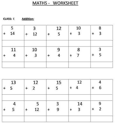 addition class  maths worksheet