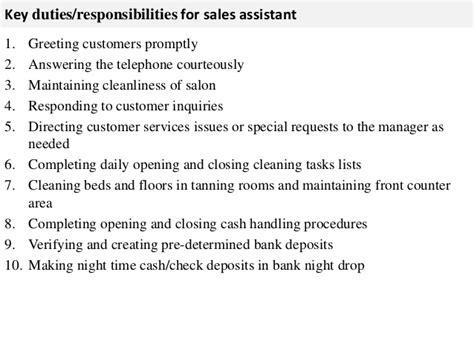 Salon Manager Roles And Responsibilities by Sales Assistant Description