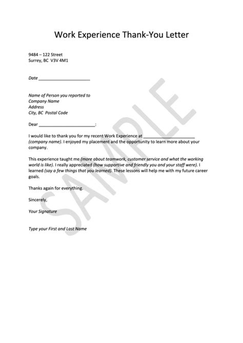 Thank You Letter Template by Work Experience Thank You Letter Template Printable Pdf