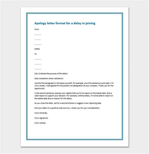 letter  apology  delay  joining sample letters