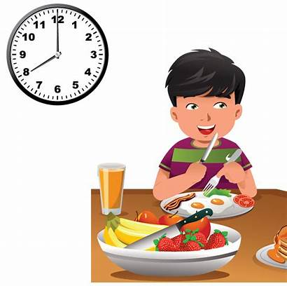 Clipart Eating Breakfast Clock Transparent Schedule Cartoon