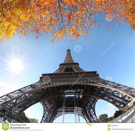 eiffel tower  autumn paris france royalty  stock