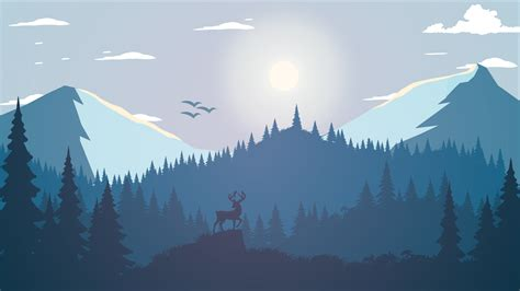 landscape forest deer artwork pine trees illustration