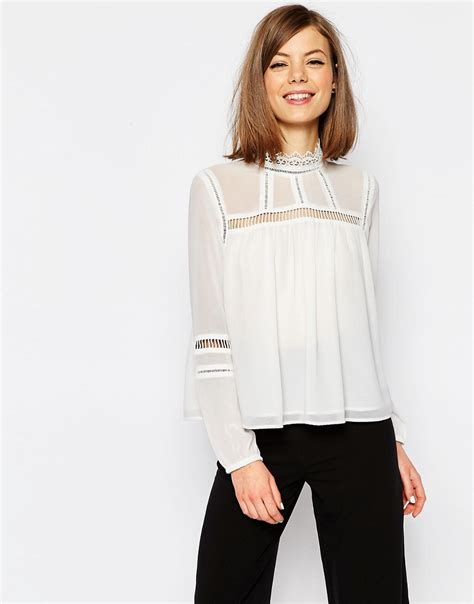 high neck blouse asos lace insert high neck blouse white octer 25 00