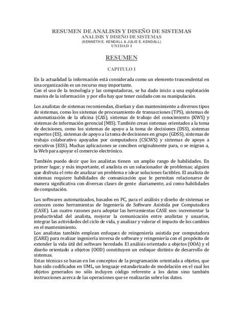 Resumen O Resú by Resumen De Analisis Y Dise 241 O De Sistemas Kendall Kendall