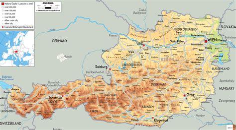 physical map  austria ezilon maps