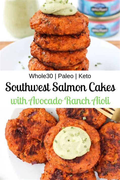 Great recipe for keto friendly salmon cakes with garlic aioli. Southwest Salmon Cakes with Avocado Ranch Aioli | Recipe in 2020 | Paleo salmon cakes, Salmon ...