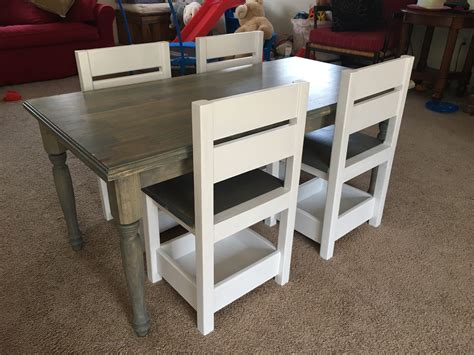 childrens farmhouse table  storage chairs ana white