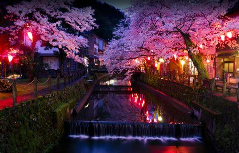 fond decran japon paysage ville nuit asie eau la