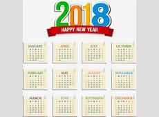 Stamp Effect 2018 Calendar Template, Vector, Material