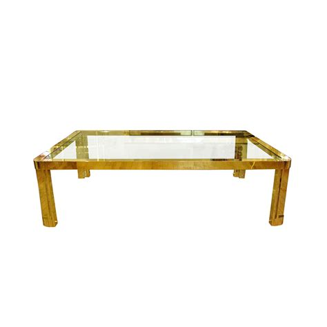 Couchtisch Glas Rechteckig by Large Rectangular Brass And Glass Coffee Table With