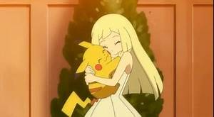 Lillie hugs Ash's Pikachu | Pokemon | Pinterest | Hug and ...