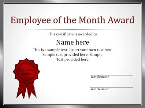 impressive employee   month award  certificate