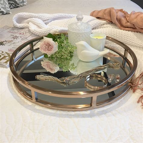 Most elegant gold coffee table : STUNNING Round Rose Gold Tray/Mirror/Coffee Table Tray/Bedroom/Hamptons Classic   eBay