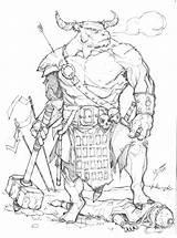 Minotaur Max Dunbar Deviantart Dragons Bard Dungeons Coloring Character Warhammer Armor Dragon Creatures Mythological Dnd Draw Clothing Cthulhu Drawings Call sketch template