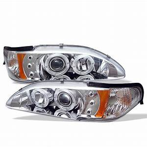 1994-1998 Ford Mustang Chrome Halo Projector Headlights - 444-FM94-1PC-AM-C