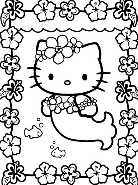 mermaid  kitty coloring pages  kitty coloring