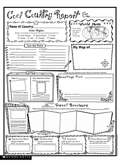 cool country report fill  poster worksheets