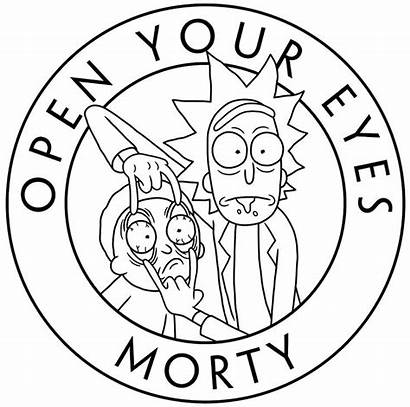 Morty Rick Coloring Drawing Eyes Simple Tattoo