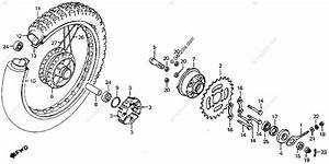 Honda Motorcycle 1978 Oem Parts Diagram For Rear Wheel