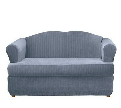 sure fit stretch t cushion sofa slipcover sure fit stretch pinstripe 2 pc t cushion loveseat