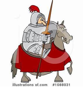 Knight On Horse Mascot Clipart