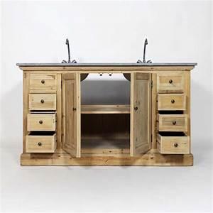 meuble salle de bain bois exotique With meuble salle de bain 2 vasque