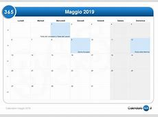 Calendario maggio 2019