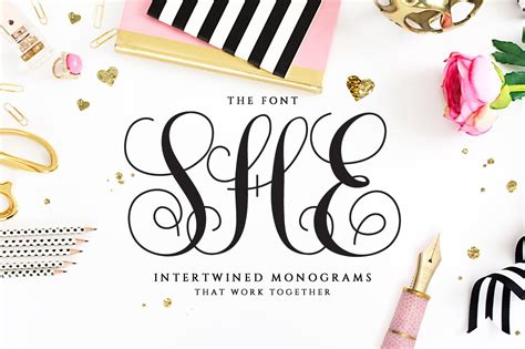 intertwined monogram  font script fonts creative market