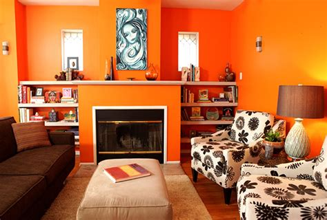 Living Room Decor With Orange Walls by Living Area Energetic Orange Home Decor 2624