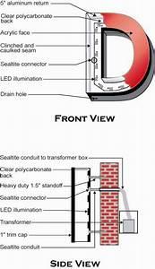 front back lit led channel letters design details With led channel letter estimator