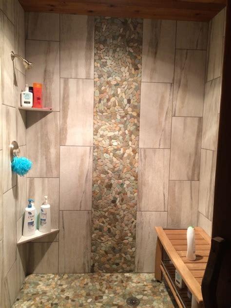 Tile shower waterfall