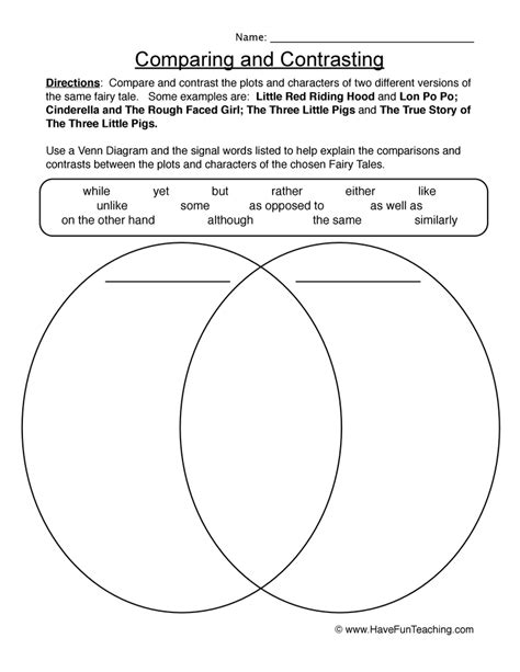 compare contrast worksheets worksheets teaching