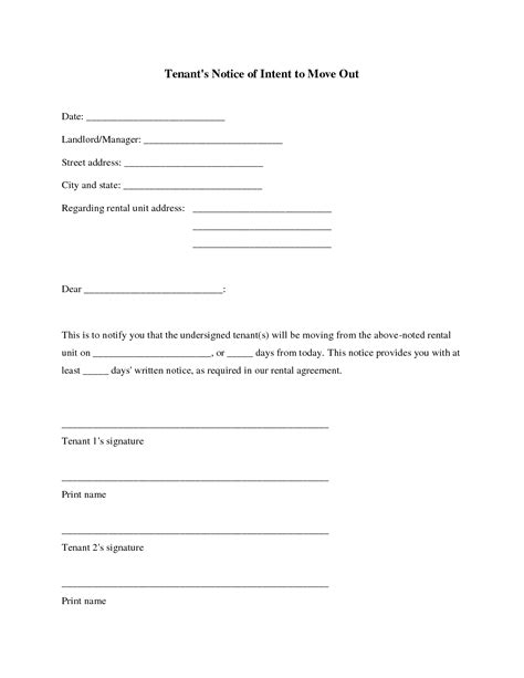 move out letter best photos of intent to move out template sle