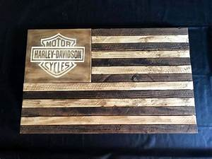 Career Plan American Flag Wood Flag Harley Davidson By