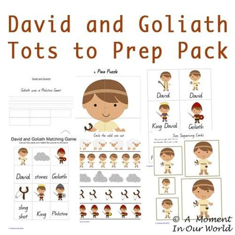 free printable david and goliath tots to prep pack 895 | be562bba23e0dbbcf31cd6af9f9855e6