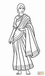 Coloring Indian Sari Saree Clipart India Colorear Colorare Disegno Coloriage Ausmalbilder Dibujos Disegni Mujer Woman Indienne Frau Punjabi Indische Dibujo sketch template