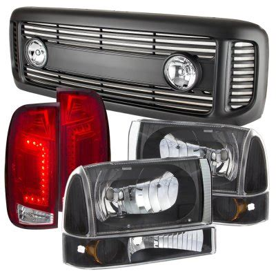 ford f250 duty 1999 2004 black grille headlights set
