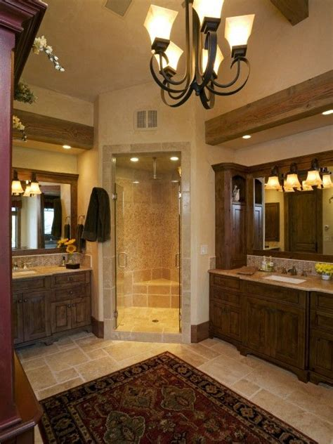 corner shower    sinks tile  wood mix